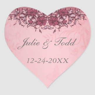 Burgundy Vintage Lace Wedding Save The Date Heart Sticker