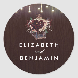 Burgundy Vintage Lantern Flowers Rustic Wedding Classic Round Sticker