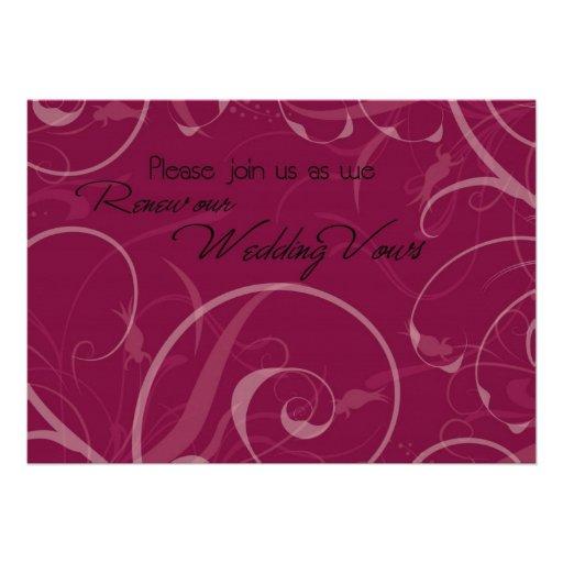 Burgundy Vow Renewal Ceremony Invitation Card