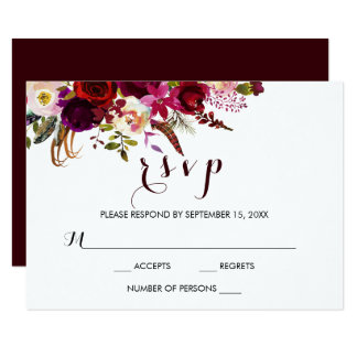 Burgundy Watercolor Floral Fall Wedding RSVP Card