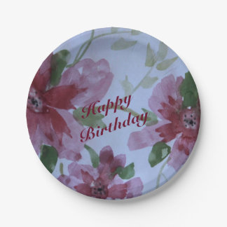 Burgundy Watercolor Floral Pattern 7 Inch Paper Plate