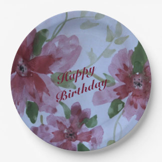 Burgundy Watercolor Floral Pattern 9 Inch Paper Plate