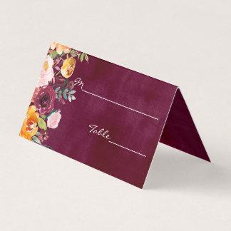 Burgundy Watercolor Floral Wedding Escort Card
