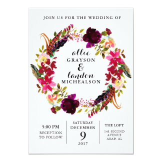 Burgundy Watercolor Floral Wreath Invitation