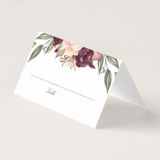 Burgundy Watercolor Flowers Wedding Place Card