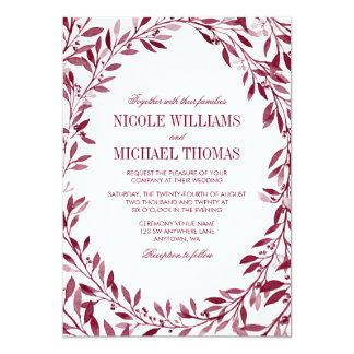Burgundy Watercolor Laurel Wreath Wedding 13 Cm X 18 Cm Invitation Card