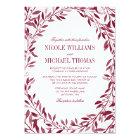 Burgundy Watercolor Laurel Wreath Wedding Card