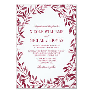 Burgundy Watercolor Laurel Wreath Wedding Card