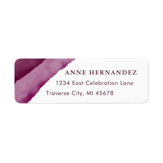 Burgundy Watercolor Modern Return Address Labels