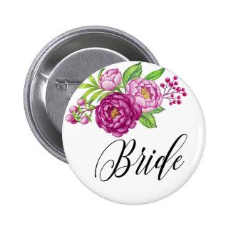 Burgundy Watercolor Peonie Bride 6 Cm Round Badge