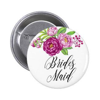 Burgundy Watercolor Peonie Brides Maid 6 Cm Round Badge