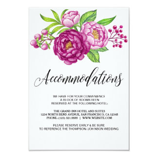 Burgundy Watercolor Peonies Accommodation Cards 9 Cm X 13 Cm Invitation Card