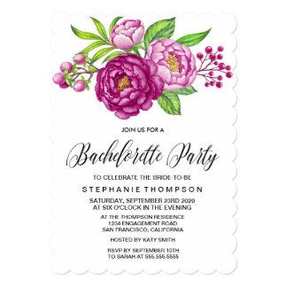 Burgundy Watercolor Peonies Bachelorette Party 13 Cm X 18 Cm Invitation Card