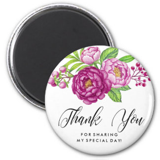 Burgundy Watercolor Peonies Thank You 6 Cm Round Magnet