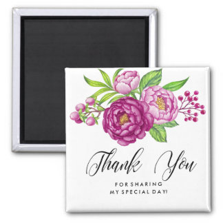 Burgundy Watercolor Peonies Thank You Square Magnet