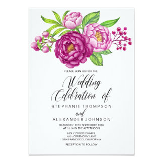 Burgundy Watercolor Peonies Wedding Invitation