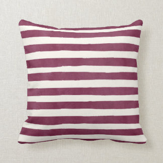 Burgundy Watercolor Stripes Autumn Throw Pillow