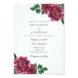 Burgundy wedding invitation floral. Dahlias invite