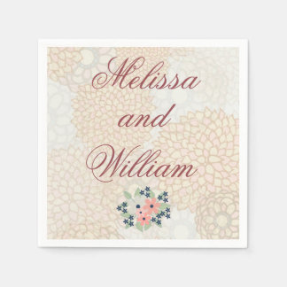 Burgundy Wedding Text Light Floral Disposable Napkins