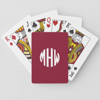 Burgundy White 3 Initials in a Circle Monogram Playing Cards