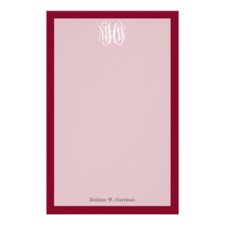 Burgundy White 3 Initials Vine Script Monogram Stationery Design