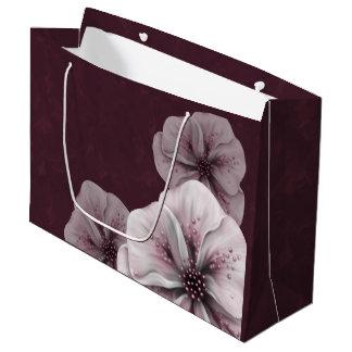 Burgundy White Floral Large Gift Bag