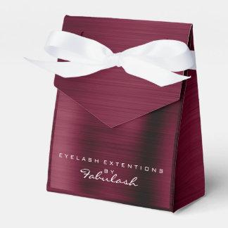 Burgundy White Metallic Name Branding Beauty Salon Favour Box