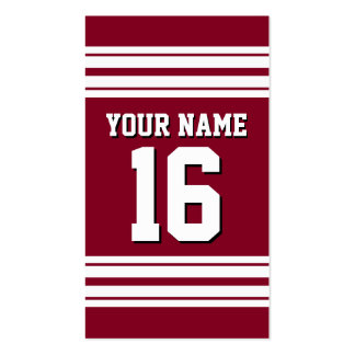 Burgundy White Team Jersey Custom Number Name Pack Of Standard Business Cards