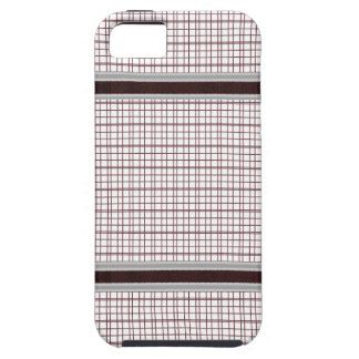 Burgundy Wine and White Checkered Pattern iPhone 5 Cases