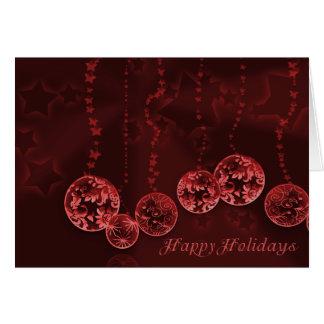 Burgundy Wine Christmas Ornaments and Stars Card