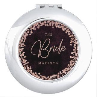 Burgundy Wine & Rose Gold Confetti Wedding Bride Travel Mirror