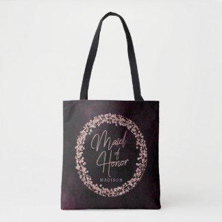Burgundy Wine & Rose Gold Maid of Honor Monogram Tote Bag