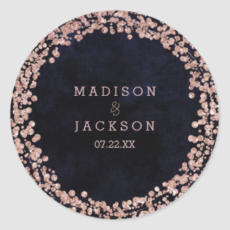 Burgundy Wine & Rose Gold Monogram Wedding Classic Round Sticker