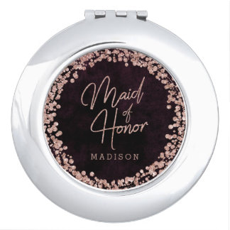 Burgundy Wine & Rose Gold Wedding Maid of Honor Makeup Mirror