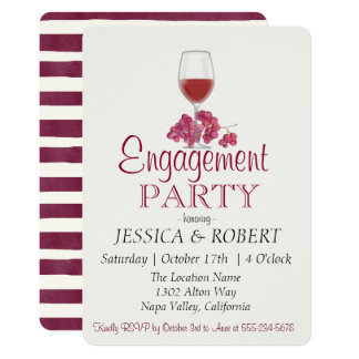 Burgundy Wine Stripe Engagement Party Invitation