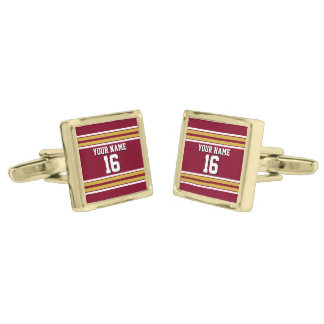Burgundy with Gold White Stripes Team Jersey Gold Finish Cuff Links