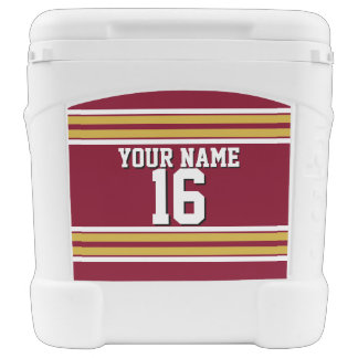 Burgundy with Gold White Stripes Team Jersey Rolling Cooler