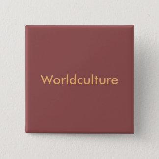 "Burgundy with orange writing ""Worldculture swipes 15 Cm Square Badge"
