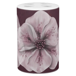 Burgundy with Pale Flowers Soap Dispenser And Toothbrush Holder