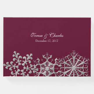 Burgundy with Snowflakes Wedding Guest Book