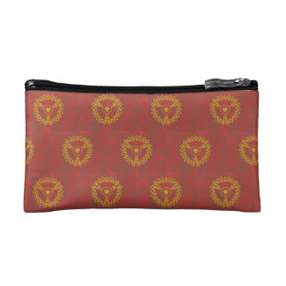 Burgundy with symbol cosmetic bags