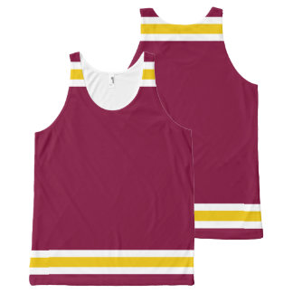 Burgundy with White and Gold Trim All-Over Print Singlet