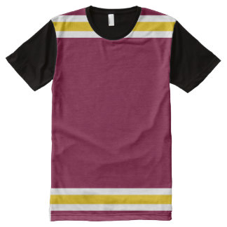 Burgundy with White and Gold Trim All-Over Print T-Shirt