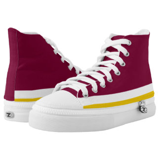 Burgundy with White and Gold Trim Hi-Top Printed Shoes