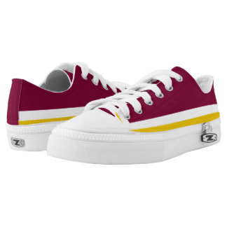 Burgundy with White and Gold Trim Lo-Top Printed Shoes