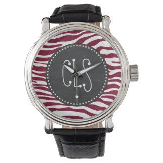 Burgundy Zebra Animal Print; Retro Chalkboard Wristwatch