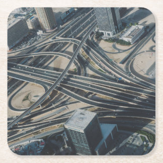 Burj Khalifa road view, Dubai Square Paper Coaster