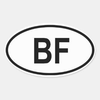 "Burkina Faso ""BF"" Oval Sticker"