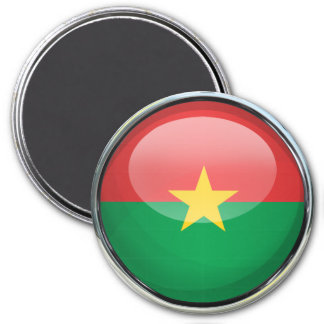 Burkina Faso Flag Glass Ball Magnet