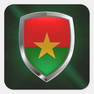 Burkina Faso Mettalic Emblem Square Sticker